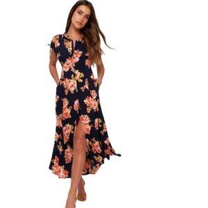 Button down floral maxi dress
